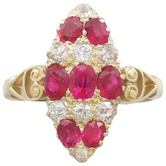 1900s Antique 1.82 Carat Ruby and Diamond Yellow Gold Marquise Ring