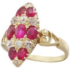 1900s Antique 1.82 Carat Ruby Diamond Gold Marquise Ring