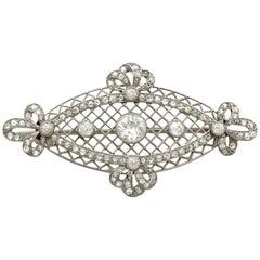 1900s Antique 1.84 Carat Diamond and Platinum Brooch