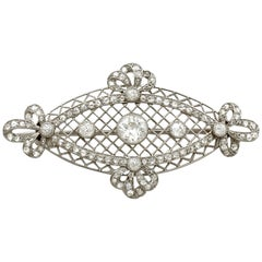 1900s Antique 1.84 Carat Diamond and Platinum Brooch