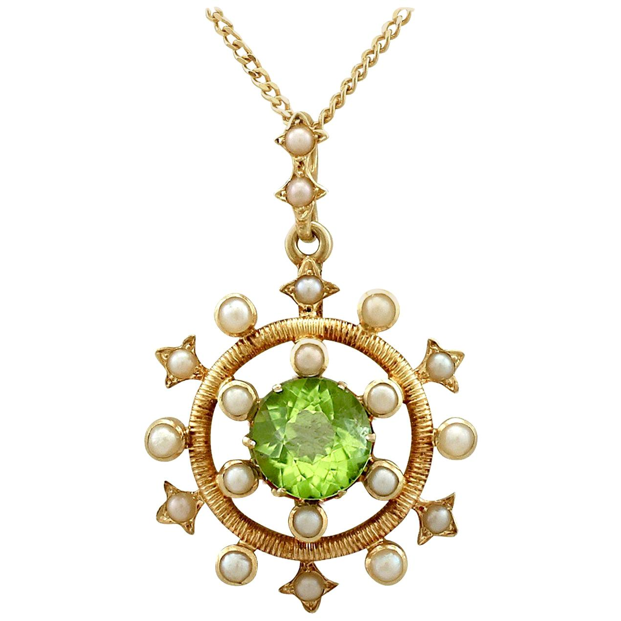 1900s Antique 1.92 Carat Peridot and Seed Pearl Yellow Gold Pendant