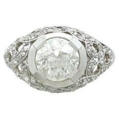 1900s Antique 2.05 Carat Diamond and Platinum Cocktail Ring