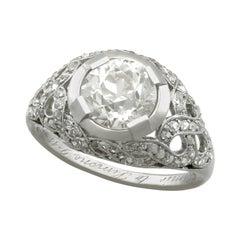 1900s Antique 2.30 Carat Diamond and Platinum Cocktail Ring
