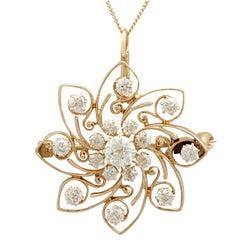 1900s Antique 2.30 Carat Diamond and Yellow Gold Pendant / Brooch