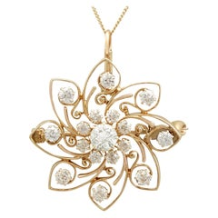 1900s Antique 2.30 Carat Diamond and Yellow Gold Pendant or Brooch