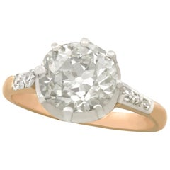 1900s Antique 2.56 Carat Diamond and Yellow Gold Solitaire Ring