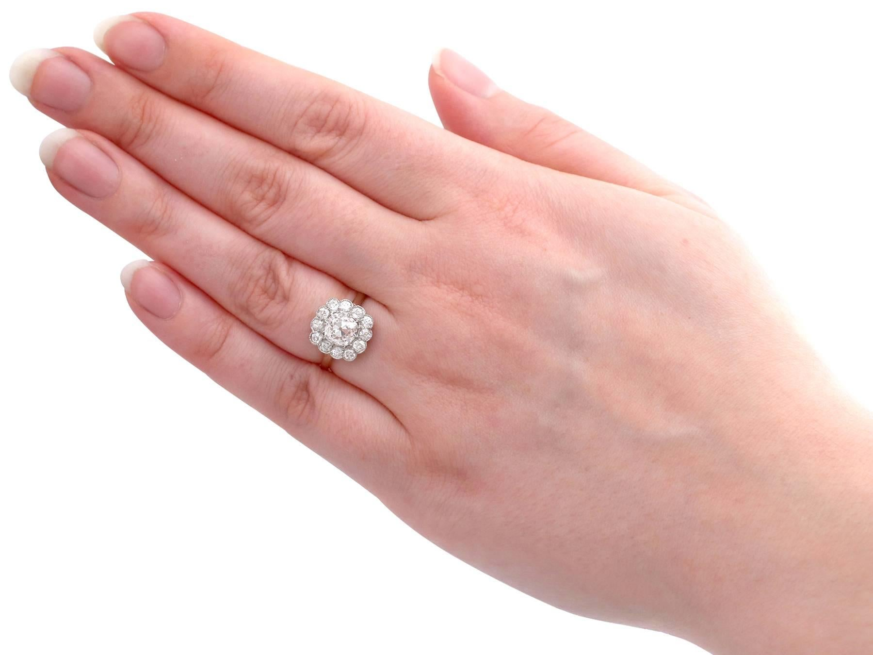 1900s Antique and Contemporary 2.12 Carat Diamond and Yellow Gold ...