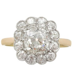 1900s Antique and Contemporary 2.12 Carat Diamond and Yellow Gold Cluster Ring