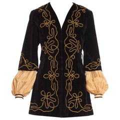 1900S Antique Black Cotton Velvet Medieval Theatrical Costume Jacket With Gold B