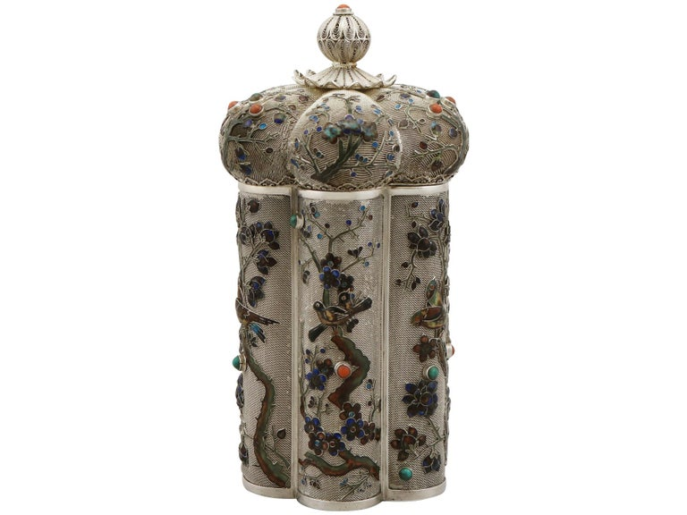An exceptional, fine and impressive antique Chinese Export silver and enamel box / canister; an addition to our oriental silver boxes collection.