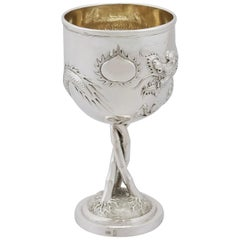 1900s Antique Chinese Export Silver Goblet