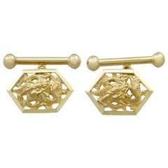 1900s Antique Chinese Yellow Gold Dragon Cufflinks