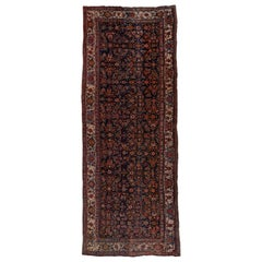 1900s Antique and Colorful Persian Bidjar Wide Runner, Navy Field, Ivory Borders