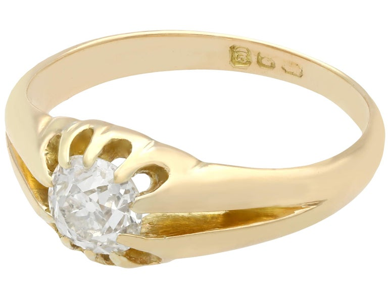 Edwardian Antique 1900s Diamond and Yellow Gold Ring For Sale