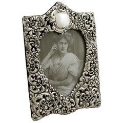 1900s Antique Edwardian Sterling Silver Photograph Frame
