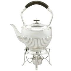 1900s Antique Edwardian Sterling Silver Spirit Tea Kettle in Queen Anne Style