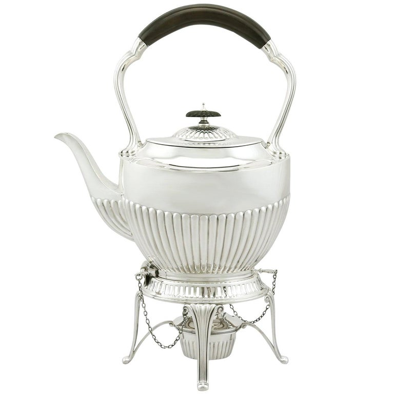 1900s Antique Edwardian Sterling Silver Spirit Tea Kettle in Queen Anne Style For Sale