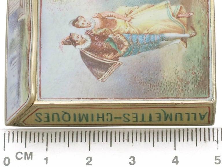 1900s Antique French Gold and Enamel Vesta Case For Sale 11