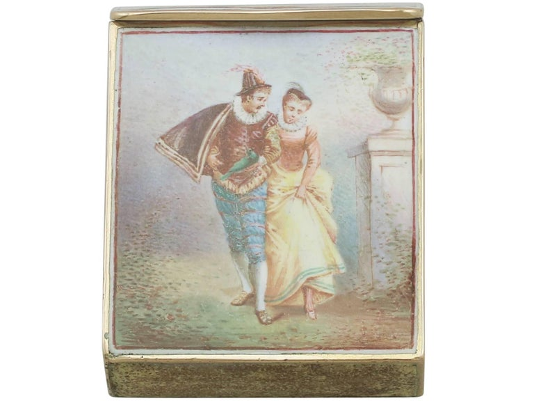 An exceptional, fine and impressive antique French 14-karat gold and enamel vesta case; an addition to our boxes and cases collection.  This exceptional antique French 14-karat yellow gold and enamel vesta case has a plain rectangular form with a