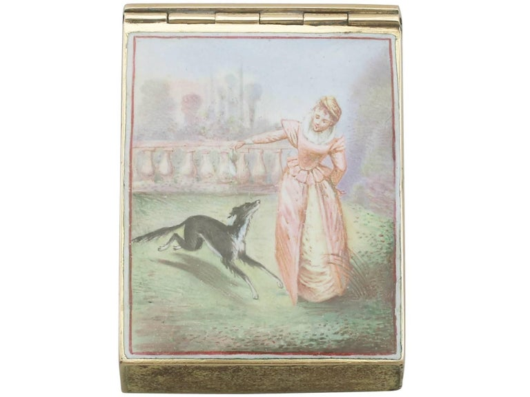 1900s Antique French Gold and Enamel Vesta Case In Excellent Condition For Sale In Jesmond, Newcastle Upon Tyne
