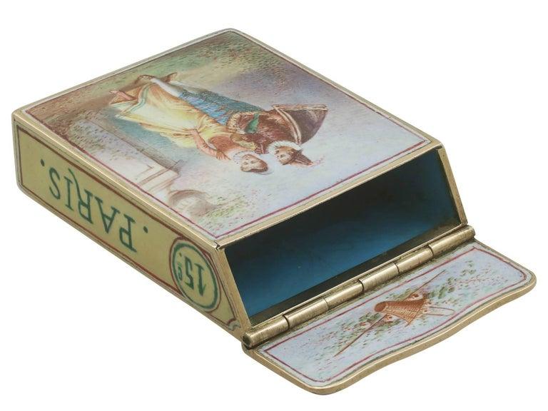 1900s Antique French Gold and Enamel Vesta Case For Sale 1