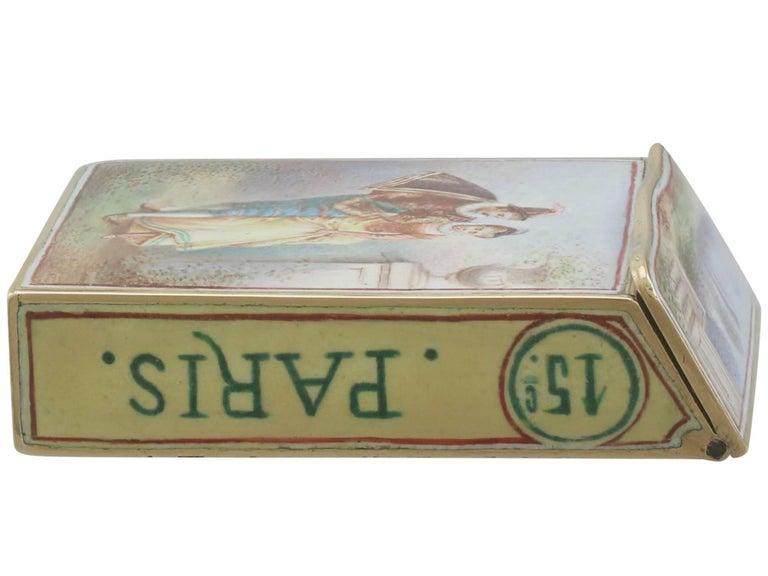 1900s Antique French Gold and Enamel Vesta Case For Sale 2