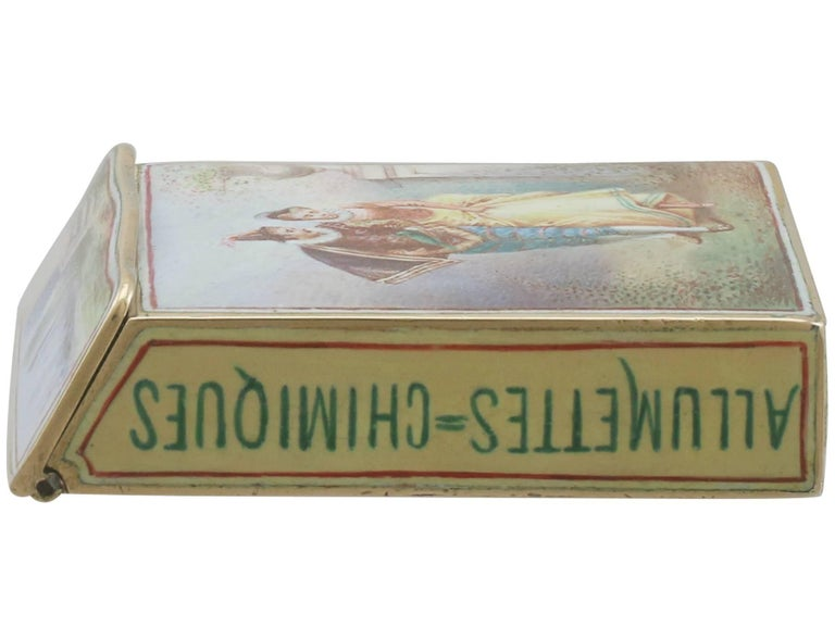 1900s Antique French Gold and Enamel Vesta Case For Sale 3