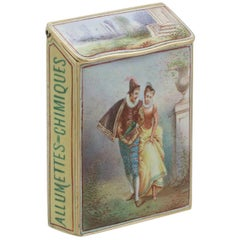 1900s Antique French Gold and Enamel Vesta Case