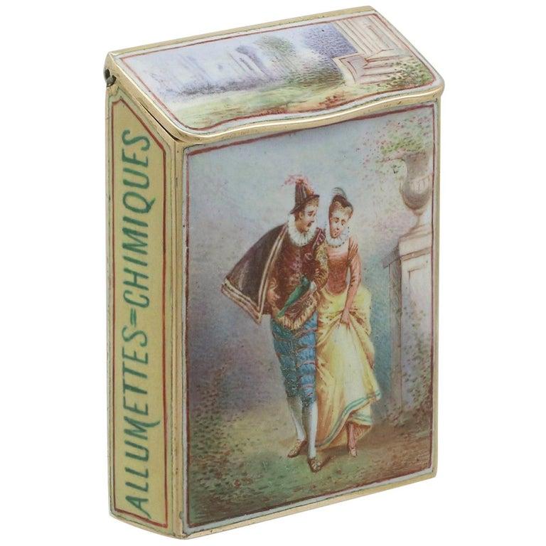 1900s Antique French Gold and Enamel Vesta Case For Sale