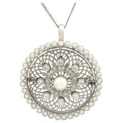 1900s Antique Italian 1.38 Carat Diamond Seed Pearl Platinum Pendant Brooch
