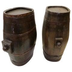 1900s Antique Italian Oak Barrels for Vinification