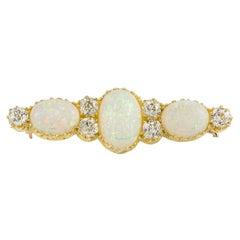 1900s Antique Opal and Diamond Brooch 1.32 Carat Diamonds 4.55 Carat Opals