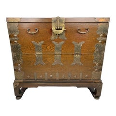 1900s Antique Oriental Bandaji Metal Mounted Chest