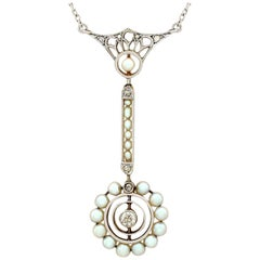 1900s Antique Pearl and Diamond Gold Pendant