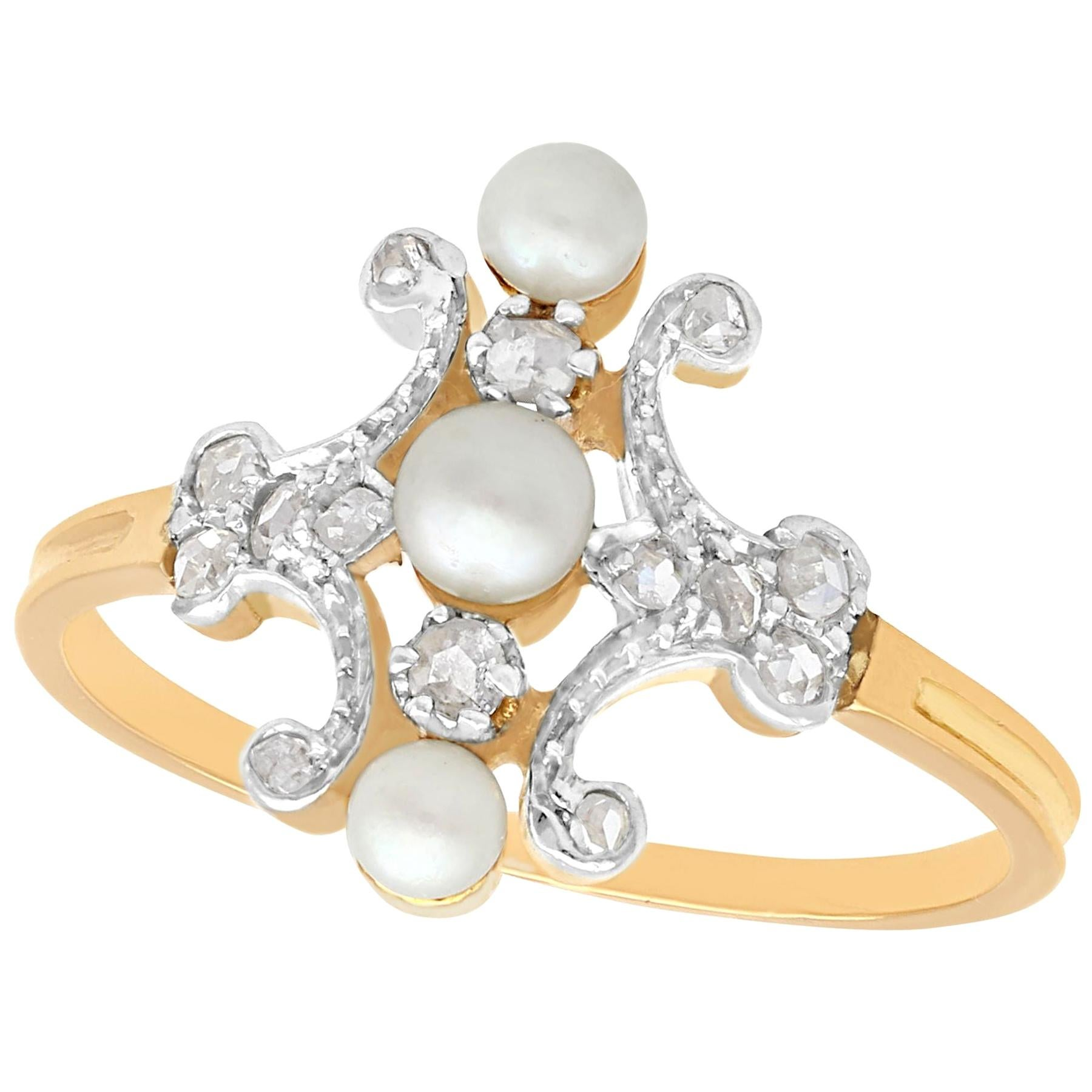 1900s Antique Pearl Diamond Yellow Gold and White Gold Set Cocktail Ring