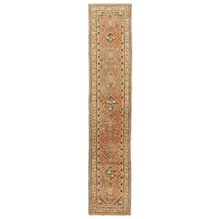 1900s Antique Persian Malayer Runner Rug with Diamond Medallions