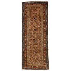 1900s Antique Persian Malayer Runner Rug with Floral Medallions All-Over