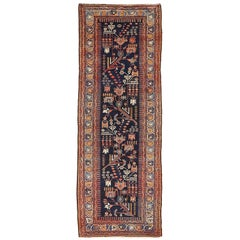 1900s Antique Persian Malayer Runner Rug with Floral Motifs Allover