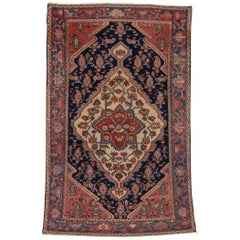 1900s Antique Persian Mishan Malayer Rug, Rose, Navy & Ivory Field, Blue Borders