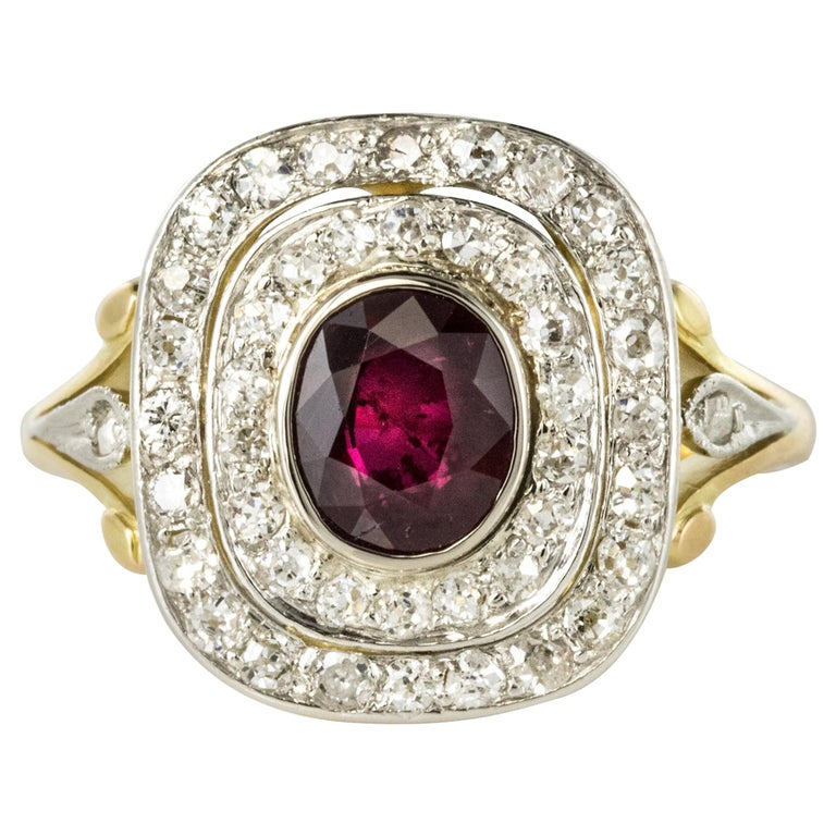 5566f40a13c2 1900s Antique Ruby Diamond Cluster Ring For Sale. Ring in 18 carats yellow  gold ...
