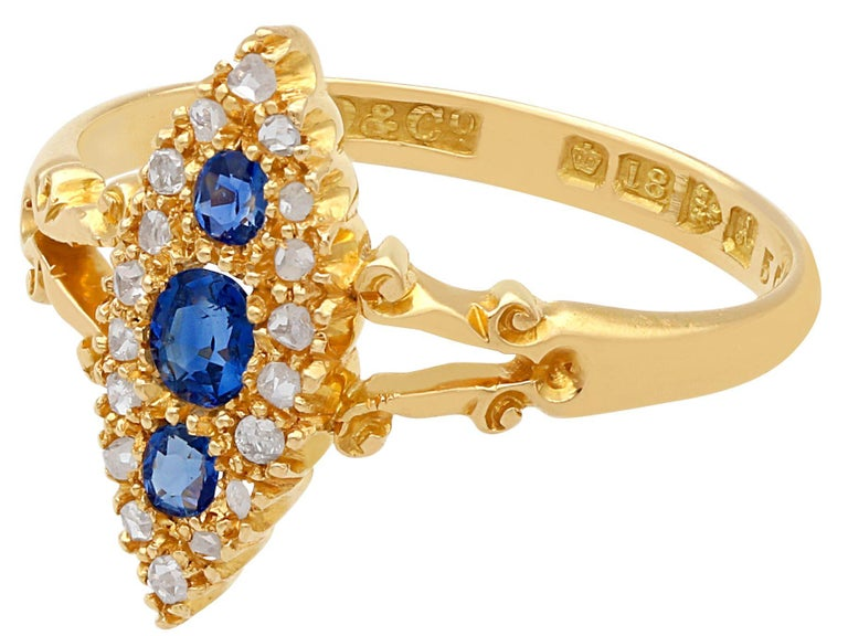 Edwardian 1900s Antique Sapphire and Diamond Yellow Gold Cocktail Ring For Sale
