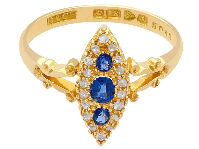 Marquise Cut 1900s Antique Sapphire and Diamond Yellow Gold Cocktail Ring For Sale