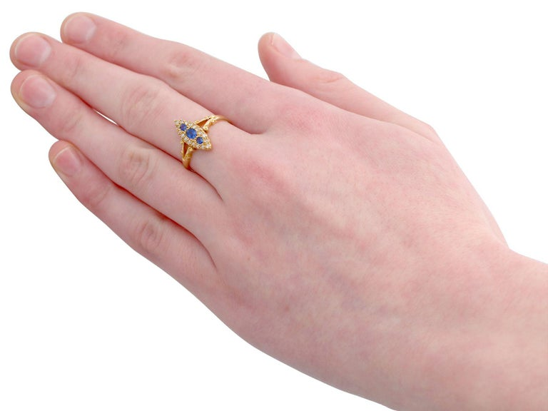 Women's 1900s Antique Sapphire and Diamond Yellow Gold Cocktail Ring For Sale