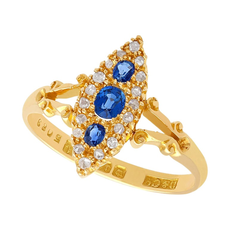 1900s Antique Sapphire and Diamond Yellow Gold Cocktail Ring For Sale