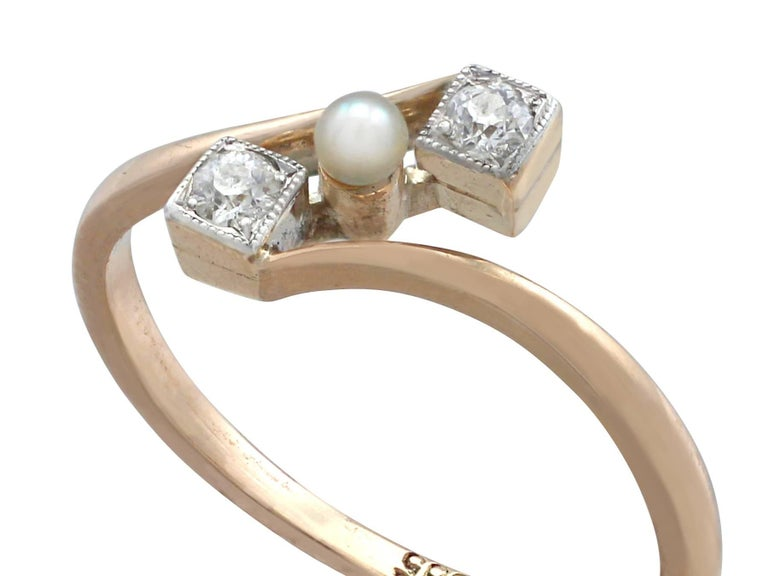 Round Cut 1900s Antique Seed Pearl and Diamond Yellow Gold Twist Ring For Sale