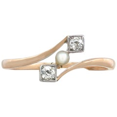 1900s Antique Seed Pearl and Diamond Yellow Gold Twist Ring