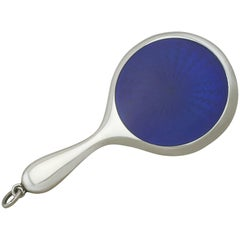 1900s Antique Sterling Silver and Enamel Miniature Hand Mirror
