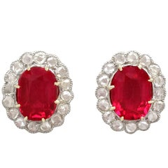 1900s Antique Synthetic Ruby and Diamond Yellow Gold Stud Earrings
