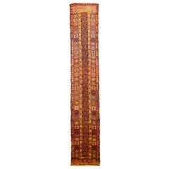 1900s Antique Turkish Oushak Runner Rug with Red and Orange Medallions