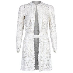 1900s Antique White Battenburg or Princess Tape Lace Bridal Dress Jacket